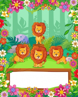 Cute lions with flowers and wood blank sign in the forest. vector