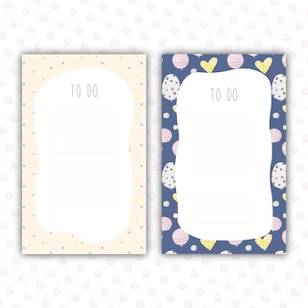 Cute to do lists with watercolor patterns