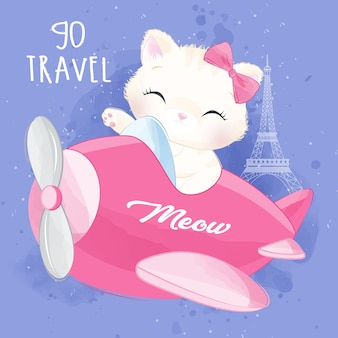 Cute litter kitty flying with aeroplane illustration