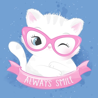 Cute litter kitty illustration