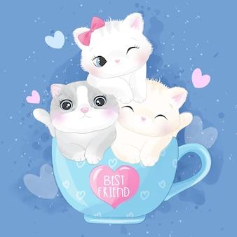컵 그림 안에 귀여운 쓰레기 고양이