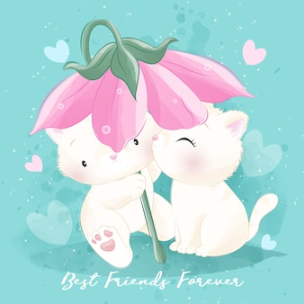 Cute litter kitty playing together illustration