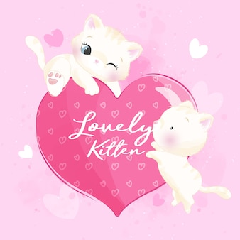 Cute litter kitty playing with love shape illustration