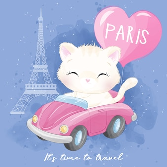 Cute litter kitty traveling illustration