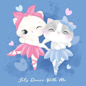 Cute litter kitty with ballet dancing illustration