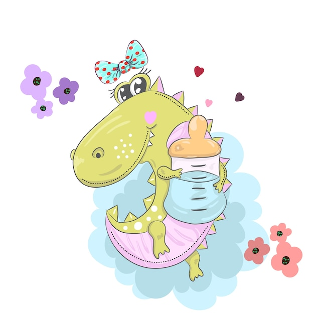 Cute little alligator with a pacifier cartoon drawing