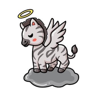 Cute little angel zebra cartoon
