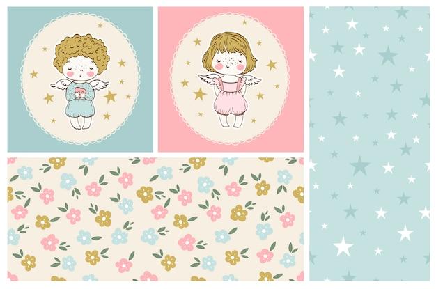 Симпатичные маленькие ангелочки из коллекции мальчик и девочка с бесшовными узорами
