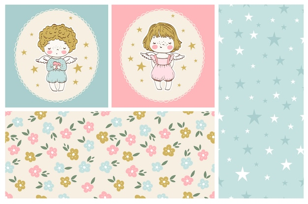 Cute little angels collection boy and girl with seamless patterns
