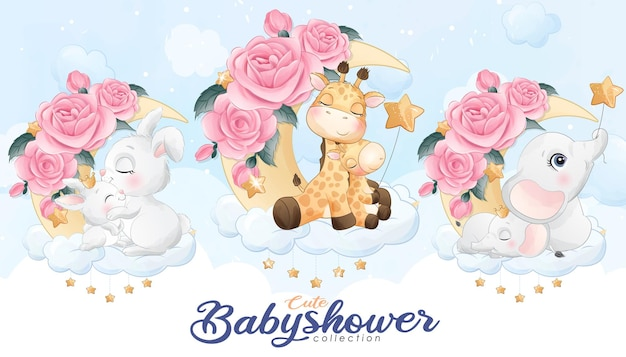 Cute little animals for baby shower with watercolor illustration set