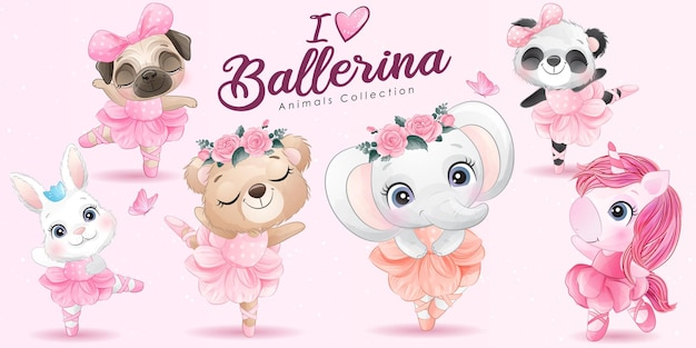 Cute little animals ballerina with watercolor illustration set