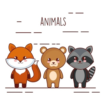 Cute and little animals characters