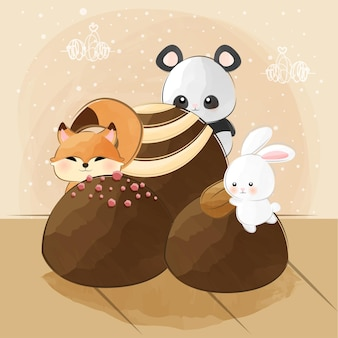 Cute little animals and chocolates
