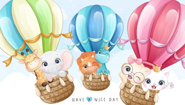 Cute little animals and dinosaur flying with air balloon set