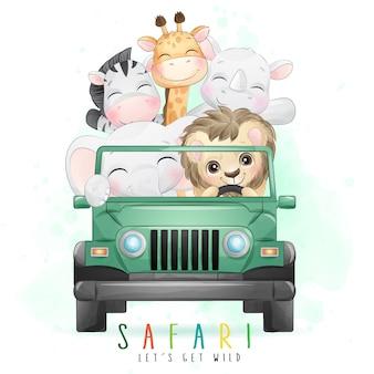 수채화 일러스트와 함께 차를 운전하는 귀여운 작은 동물