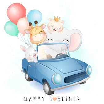 Cute little animals driving a car with watercolor illustration