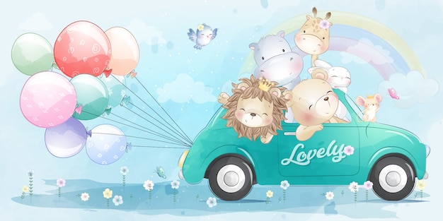 Cute little animals driving a car