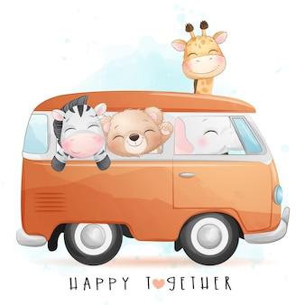 Cute little animals driving a van with watercolor illustration