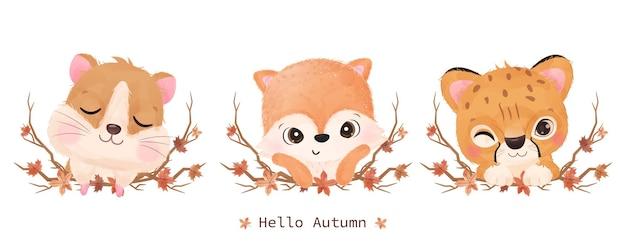 가을 장식을 위한 수채화 삽화의 귀여운 작은 동물들