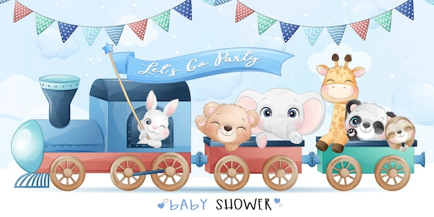 Cute little animals sitting in the train with watercolor illustration