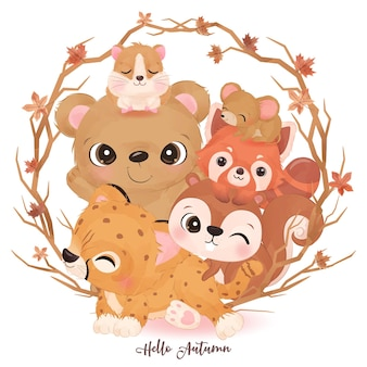 Cute little animals in watercolor illustration for autumn decoration