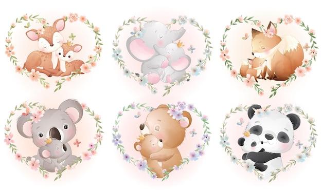 母の日コレクションのための花の花輪を持つかわいい小動物