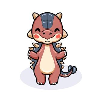 Милый маленький анкилозавр динозавр мультфильм стоя