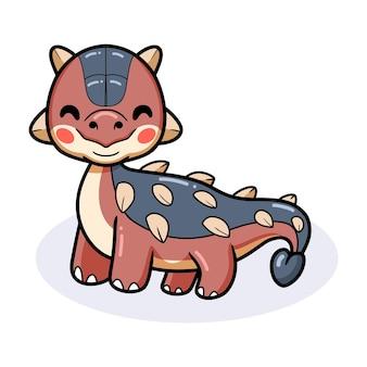 Милый маленький мультфильм динозавра анкилозавра