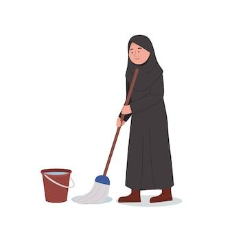 Cute little arabian girl mopping floor cleaning home