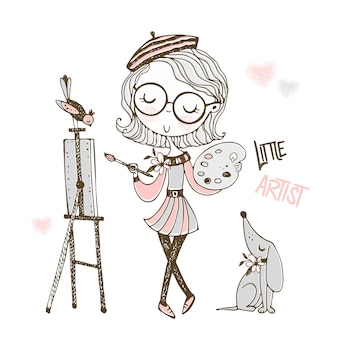 Cute little artist paints a picture. doodle style.