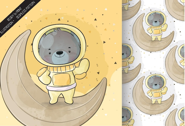 Cute little astronaut  bear on the moon with seamless pattern