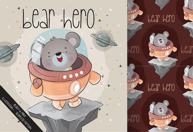 Cute little astronaut  bear on the space with seamless pattern