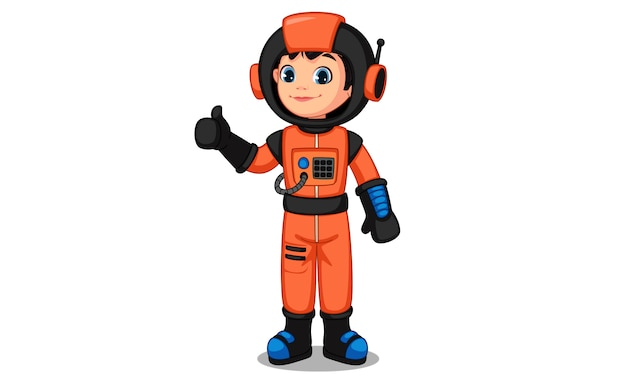 Cute little astronaut kid showing thumb