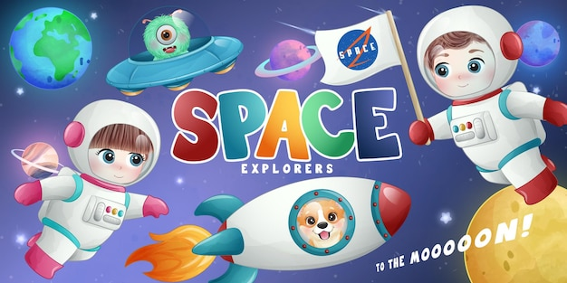 水彩風イラストでかわいい小さな宇宙飛行士の宇宙