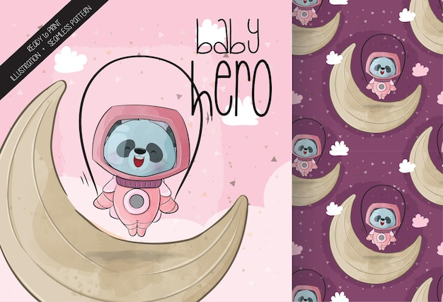 月のかわいい小さな宇宙飛行士パンダ縄跳び