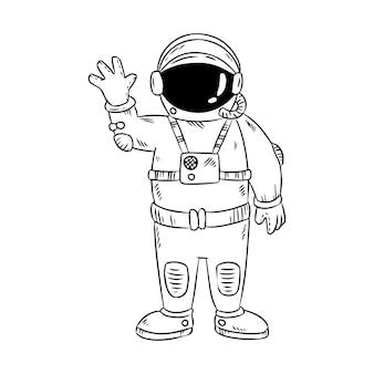 Cute little astronaut waving hand