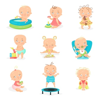 Cute little babies and their daily routine set. happy smiling little boys and girls   illustrations