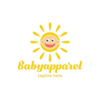 かわいいベビーアパレルのロゴ Premiumベクター