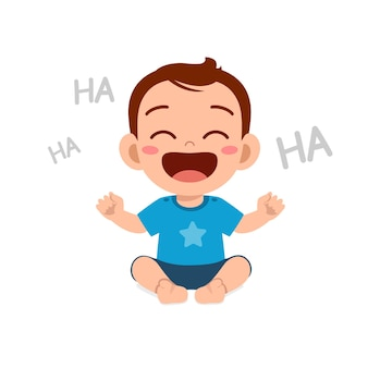 Cute little baby boy show happy expression and laugh
