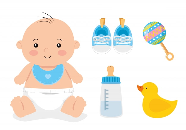 Cute little baby boy with set toys illustration