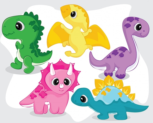 Cute little baby dinosaurs collection