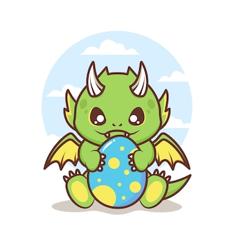 Cute little baby dragon with egg