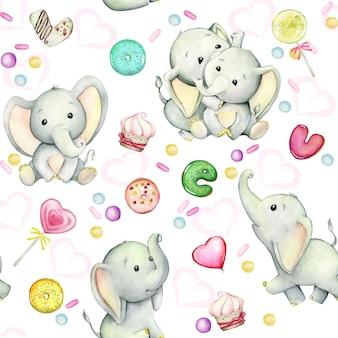 かわいい象の赤ちゃん、ドーナツ、お菓子。白い背景の水彩画のシームレスなパターン。