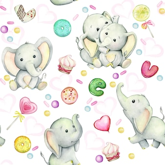 Cute little baby elephants, donuts and sweets. watercolor seamless pattern on a white background.