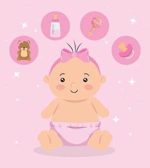 Cute little baby girl with icons set illustration