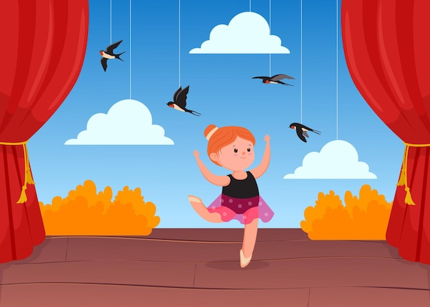 Cute little ballerina dancing on stage with decorations. cartoon illustration