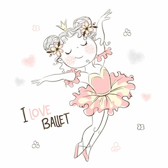 A cute little ballerina in a pink tutu is dancing.