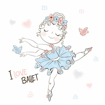 A cute little ballerina in a tutu dances beautifully.