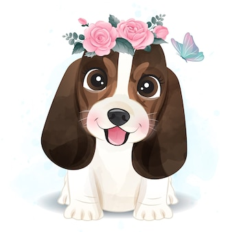 Cute little basset hound with floral illustration