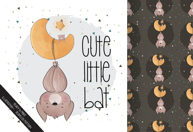 Cute little bat on the moon happy halloween with seamless pattern